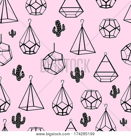 Seamless Pattern. Terrarium And Cactus. Vector. Concept Of Black Cactuses With Terrariums On Pink Ba