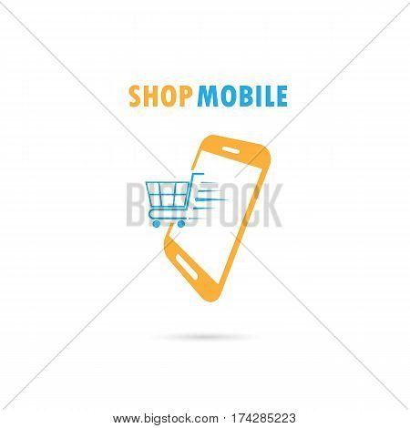 Mobile phone with online shopping application.Internet shopping phone concept illustration.Shopping cart flying out of phone screen.Buying shopping online.Vector illustration