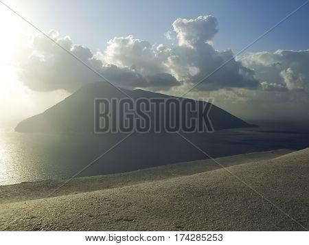 View of Salina from the island of Lipari
