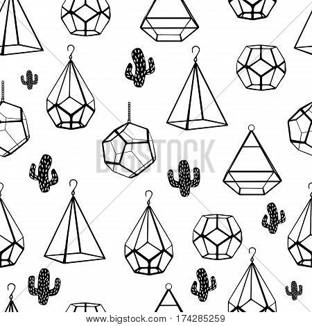 Seamless Pattern. Terrarium And Cactus. Vector. Concept Of Black Cactuses With Terrariums On White B