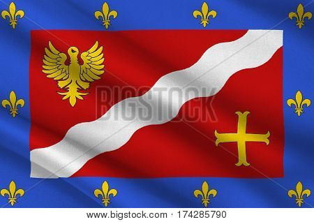 Flag of Val-dOise is a French department in the region of Ile-de-France. 3d illustration