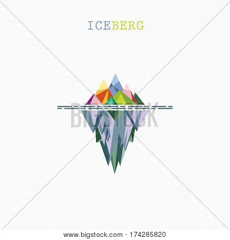 Abstract triangle iceberg vector logo design infographic template.Risk analysis iceberg vector diagram.Design for business education or technology presentation.Vector illustration