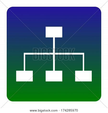 Site map sign. Vector. White icon at green-blue gradient square with rounded corners on white background. Isolated.