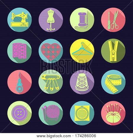 Set Of Vector Icons Sewing Tools. Colorful Bright Sewing Supplies In A Round Multi-colored Frame Wit