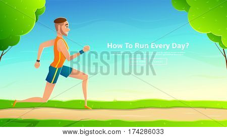 Slim sporty character runs on trail. Vector illustration of with beautiful landscape. Web banner with healthy man.