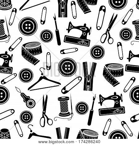 Sewing Tools Seamless Pattern, Vector Background. Black Sewing Supplies On White Background. For Wal