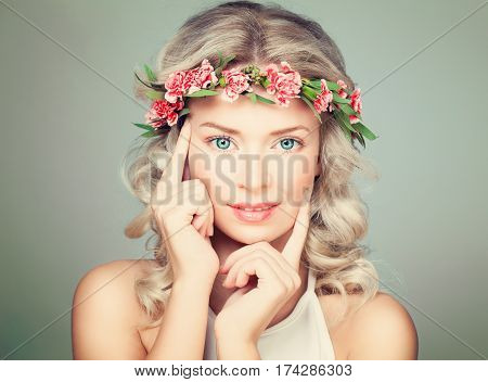 Beautiful Woman Touching Her Hand Her Face. Nice Model in Flowers Wreath