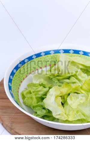 Green Lettuce Salad With Copy Space Over White