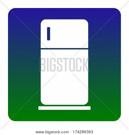 Refrigerator sign illustration. Vector. White icon at green-blue gradient square with rounded corners on white background. Isolated.