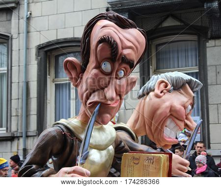 AALST, BELGIUM, FEBRUARY 26 2017: One of the humorous caricatures on a float during the annual carnival parade in Aalst, which is a UNESCO recognized event of Intangible Cultural Heritage.