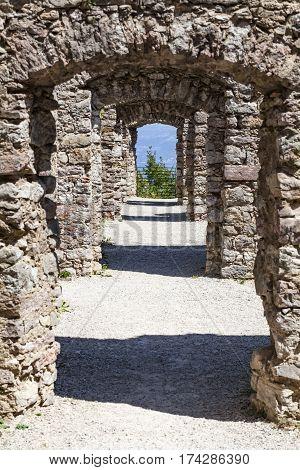 Passage in ruin Castel Belfort near Spormaggiore in Trento in Italy Europe