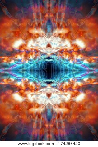 An abstract orange and blue psychedelic background pattern