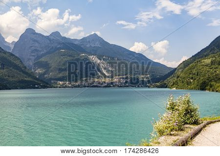 Lake Molveno in Trentino in Italy Europe