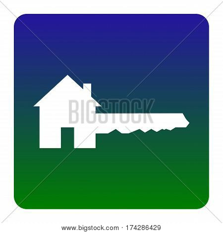 Home Key sign. Vector. White icon at green-blue gradient square with rounded corners on white background. Isolated.