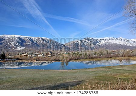Wasatch Front mountains at Wolf Creek in Utah