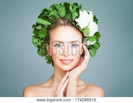 Spa Woman Fashion Model Smiling. Bath Finnish Sauna and Skincare Concept