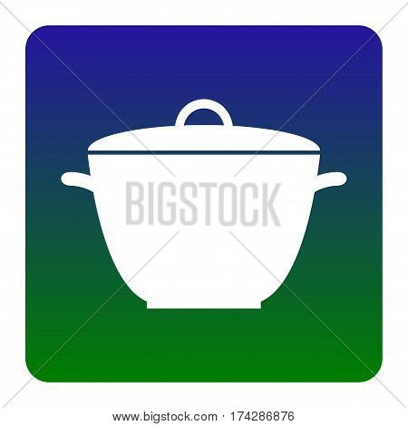 Saucepan simple sign. Vector. White icon at green-blue gradient square with rounded corners on white background. Isolated.