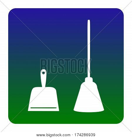 Dustpan vector sign. Scoop for cleaning garbage housework dustpan equipment. Vector. White icon at green-blue gradient square with rounded corners on white background. Isolated.