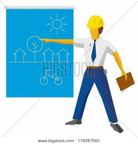 Engineer Builder Show Blueprint With Ecological Project