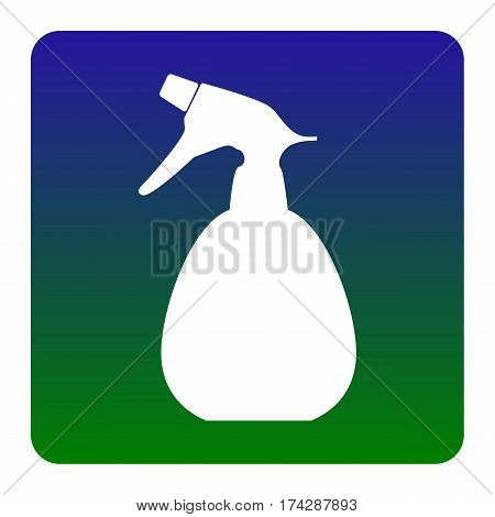 Spray bottle for cleaning sign. Vector. White icon at green-blue gradient square with rounded corners on white background. Isolated.