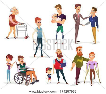 Set of vector cartoon illustrations of people with disabilities among others. Men with limited opportunities in a wheelchair, on crutches, with prosthetic legs and arm, visually impaired