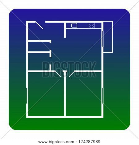 Apartment house floor plans. Vector. White icon at green-blue gradient square with rounded corners on white background. Isolated.