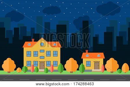 Vector night city with two cartoon houses and buildings with trees and shrubs. City space with road on flat style background concept. Summer urban landscape. Street view with cityscape on a background