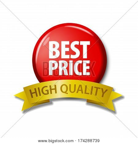 Red Button And Ribbon With Words 'best Price High Quality'