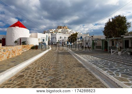 ASTYPALEA, GREECE - FEBRUARY 2, 2017: Windmills in the main square of Chora on Astypalea island on February 2, 2017.
