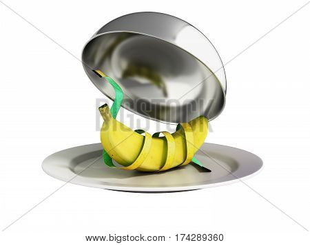 Concepts For A Healthy Food Restaurant Cloche With Open Lid 3D Render No Shadow