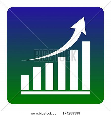 Growing graph sign. Vector. White icon at green-blue gradient square with rounded corners on white background. Isolated.