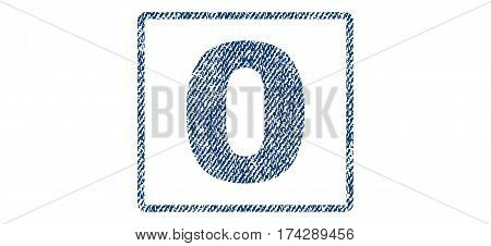 0 text textile seal stamp watermark. Blue jeans fabric vectorized texture. Vector caption inside rounded rectangular shape. Rubber sticker with fiber textile structure.