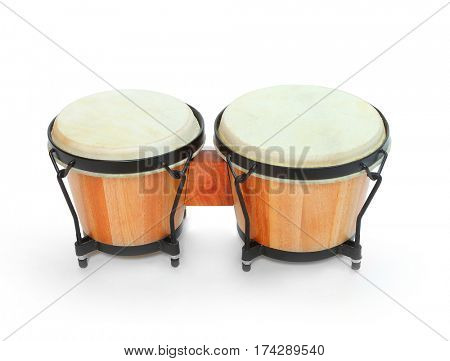 Bongos percussion, traditional african drum. Musical instrument on white background.