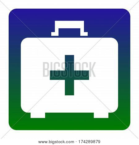 Medical First aid box sign. Vector. White icon at green-blue gradient square with rounded corners on white background. Isolated.