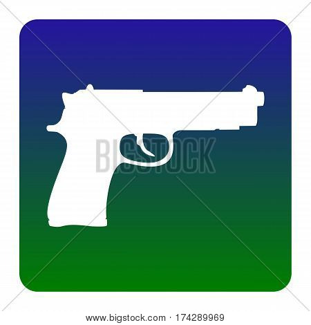 Gun sign illustration. Vector. White icon at green-blue gradient square with rounded corners on white background. Isolated.