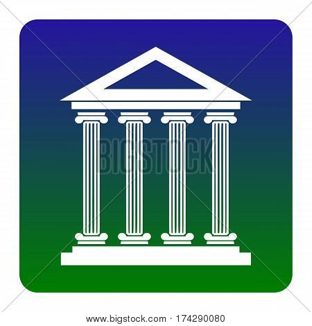 Historical building illustration. Vector. White icon at green-blue gradient square with rounded corners on white background. Isolated.