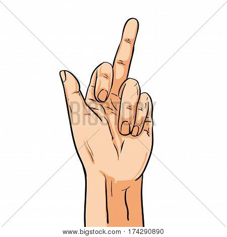 Vector hand shoving middle finger. Illustration in comic style isolated on white