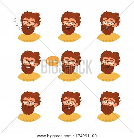 Man with different emotions. Joy, sadness, anger, talking, funny, fear, smile. Set Isolated illustration on white background Vector Cartoon Flat Face expressions