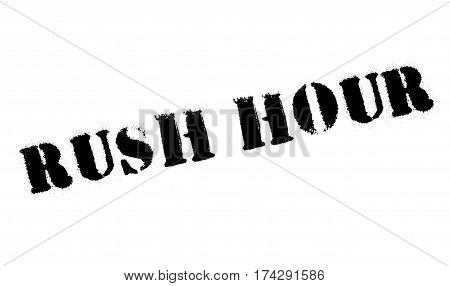 Rush Hour rubber stamp. Grunge design with dust scratches. Effects can be easily removed for a clean, crisp look. Color is easily changed.