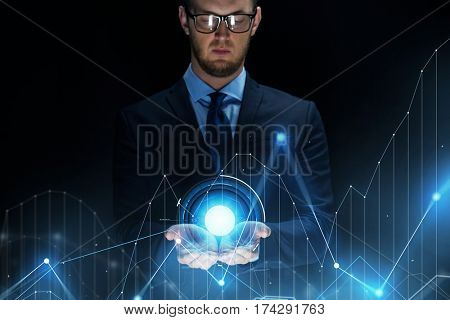 business, future technology, cyberspace and people - businessman with virtual diagram chart projection over black background