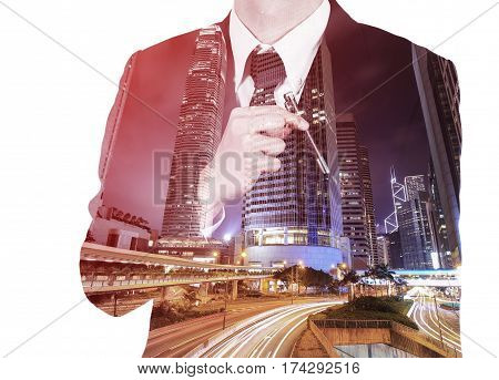 Double Exposure Of Business Man  Picking A Pen From Pocket Against City Isolated On White Background