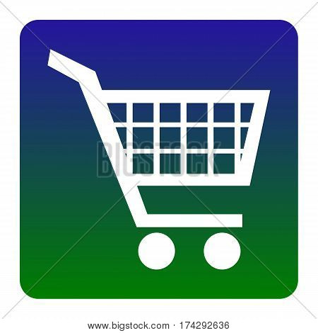 Shopping cart sign. Vector. White icon at green-blue gradient square with rounded corners on white background. Isolated.