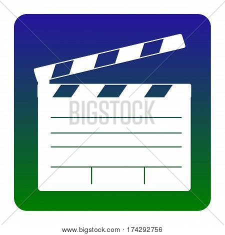 Film clap board cinema sign. Vector. White icon at green-blue gradient square with rounded corners on white background. Isolated.