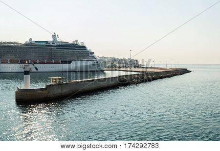big cruise ship in the port of Piraeus in Greece