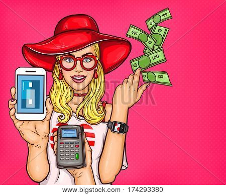 Vector pop art illustration of a young girl holding a smartphone and throw cash. Concept poster technology electronic payments, online shopping, e-commerce