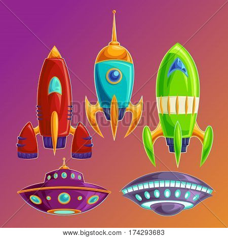 Vector cartoon icons fantasy space rockets and flying saucers on the cosmic background. Set amusing spaceships and UFOs