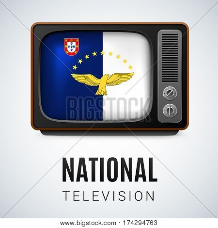 Vintage TV and Flag of Azores as Symbol National Television. Tele Receiver with flag design