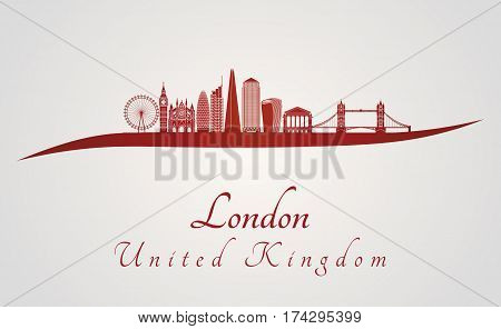 London V2 Skyline In Red