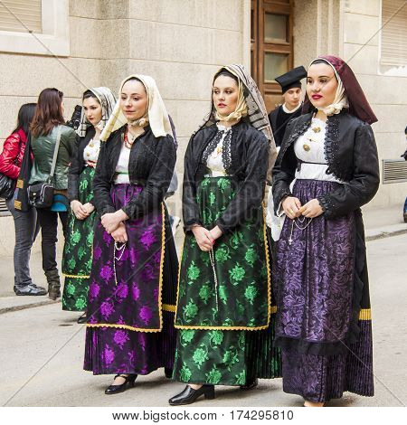 CAGLIARI, ITALY - May 1, 2013: 357 Religious Procession of Sant'Efisio - group of beautiful women in traditional Sardinian costume - Sardinia