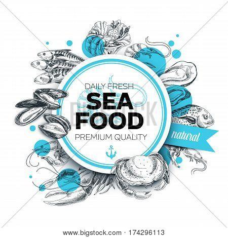 Vector hand drawn sea food Illustration. Vintage style. Retro food background. Sketch